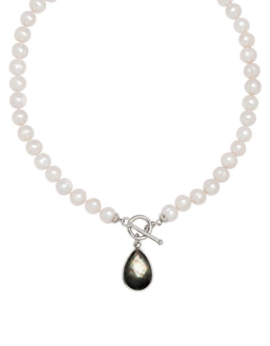 Honora Style Pearl and Mother-of-Pearl Pendant Necklace-WHITE-One Size