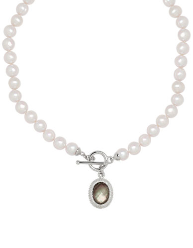 Honora Style Pearl and Mother-of-Pearl Charm Necklace-WHITE-One Size