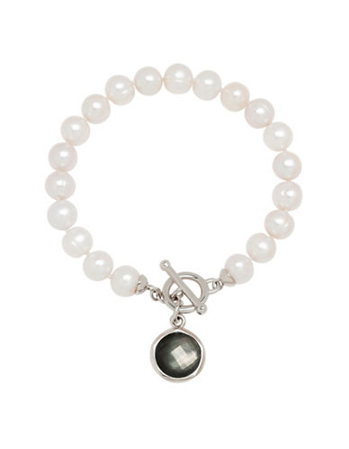 Honora Style Pearl and Sterling Silver Toggle Bracelet-WHITE-One Size