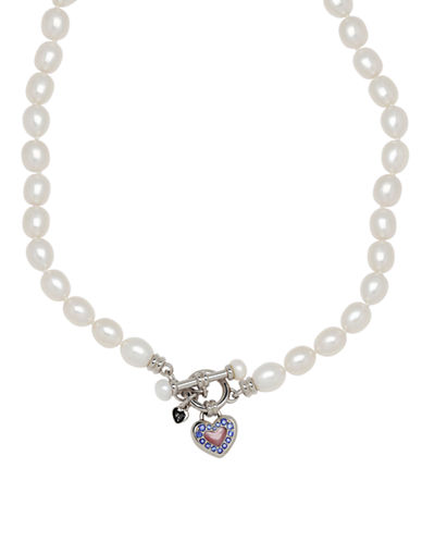 Honora Style Pearl and Mother-of-Pearl Heart Necklace with Sapphire-WHITE-One Size