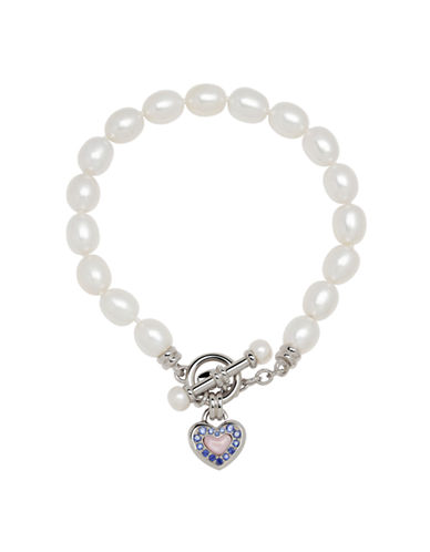 Honora Style Pearl and Sterling Silver Toggle Bracelet with Sapphire-WHITE-One Size