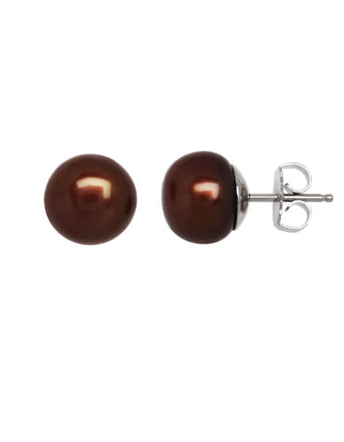 Honora Style Chocolate Button Pearl Earrings in Sterling Silver-BROWN-One Size