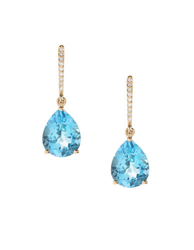 Town & Country 0.054 TCW Blue Topaz 14K Yellow Gold Earrings-BLUE TOPAZ-One Size