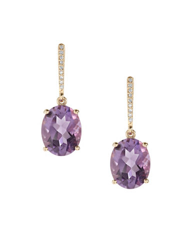 Town & Country 0.054 TCW Amethyst 14K Yellow Gold Earrings-AMETHYST-One Size