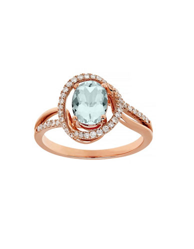 Town & Country 14K Rose Gold Ring with Aquamarine and .208 Total Carat Weight Diamonds-AQUAMARINE-7
