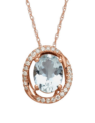 Town & Country 14K Rose Gold and Aquamarine Pendant Necklace-AQUAMARINE-One Size