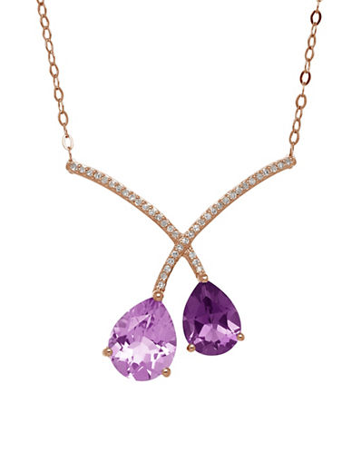 Town & Country 14K Yellow Gold Necklace with Amethysts and .092 TWC Diamonds-AMETHYST-One Size