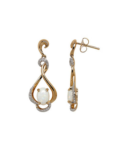 Town & Country 14K Yellow Gold Earrings with Opals and .066 Total Carat Weight Diamonds-OPAL-One Size