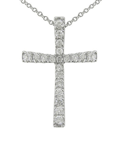 Fine Jewellery 14K White Gold Cross Necklace with 0.16 TCW Diamonds-DIAMOND-One Size