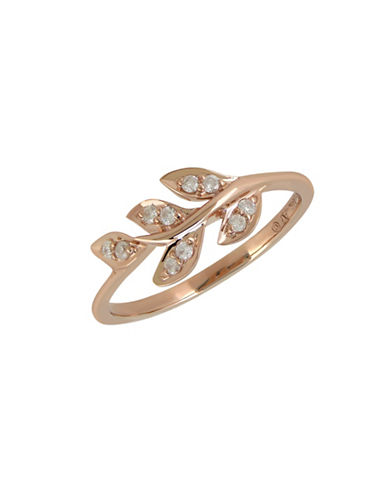Fine Jewellery 0.1 TCW Diamond and 14K Rose Gold Leaf Ring-DIAMOND-7