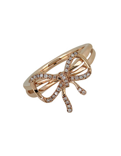 Fine Jewellery 0.1TCW Diamond and 14K Rose Gold Bow Ring-DIAMOND-7