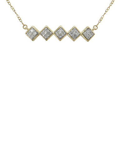 Fine Jewellery 0.1TCW Diamond and 14K Yellow Gold Geo Trapeze Necklace-DIAMOND-One Size