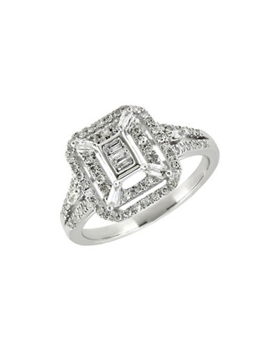 Fine Jewellery 0.375TCW Diamond and 14K White Gold Square Vintage Ring-DIAMOND-7