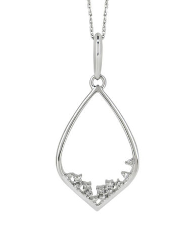 Fine Jewellery 0.1TCW Diamond and 14K White Gold Triangle Necklace-DIAMOND-One Size