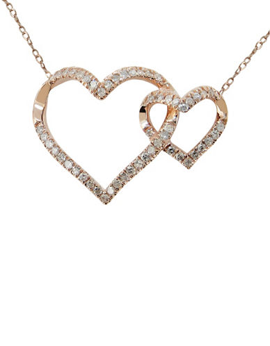 Fine Jewellery Diamond and 14K Rose Gold Double-Heart Necklace-DIAMOND-One Size