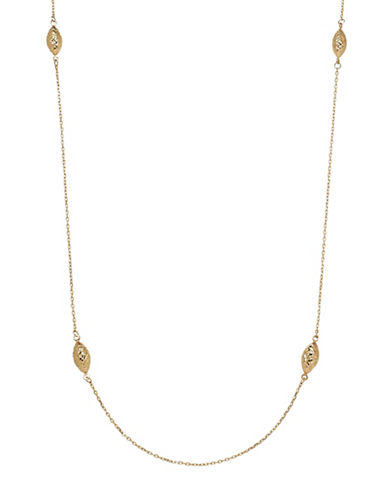 Fine Jewellery 14K Yellow Gold Oval Bead Station Necklace-GOLD-One Size