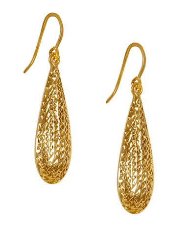 Fine Jewellery 14K Gold Teardrop Earrings-GOLD-One Size