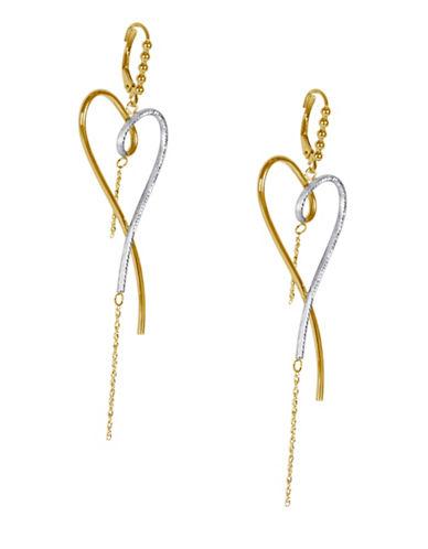 Fine Jewellery 14K Two-Tone Gold Heart Drop Earrings-GOLD-One Size