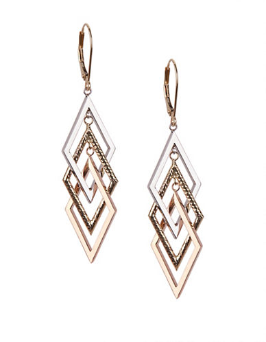 Fine Jewellery 14K Gold Tri-Tone Drop Earrings-GOLD-One Size