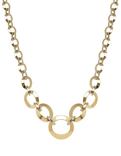 Fine Jewellery 14K Two-Tone Gold Oval Link Necklace-GOLD-One Size