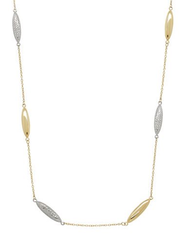 Fine Jewellery Two-Tone 14K Gold Station Necklace-GOLD-One Size