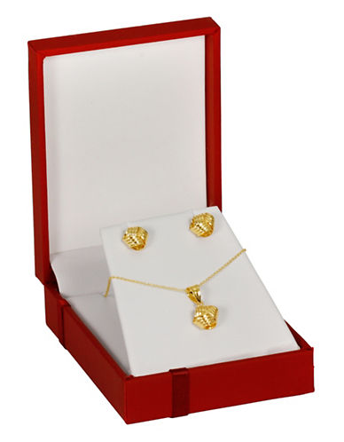 Fine Jewellery 14K Yellow Gold Ribbed Loveknot Necklace and Earrings Box Set-YELLOW GOLD-One Size