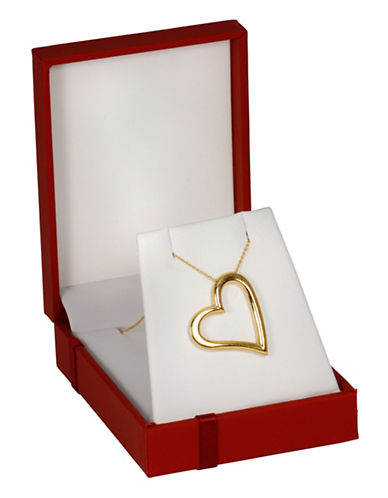 Fine Jewellery 14K Yellow Gold Open Heart Pendant Necklace Box Set-GOLD-One Size