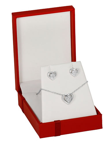 Fine Jewellery 0.132TCW Diamond Sterling Silver Heart Necklace and Studs Set-DIAMOND-One Size