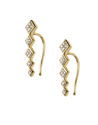 Fine Jewellery 0.10 Total Carat Weight Diamond with 14K Yellow Gold Square Accent Earrings-DIAMOND-One Size