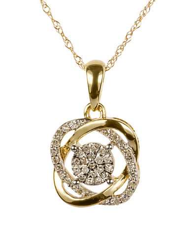 Fine Jewellery 0.125 Total Carat Weight Diamond with 14K Yellow Gold Pendant Necklace-DIAMOND-One Size