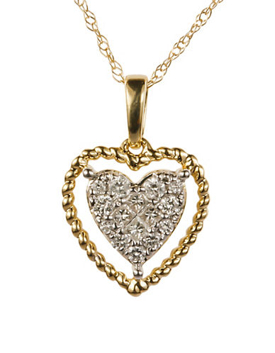 Fine Jewellery 0.20 Total Carat Weight Diamond with 14K Yellow Gold Heart Pendant Necklace-DIAMOND-One Size