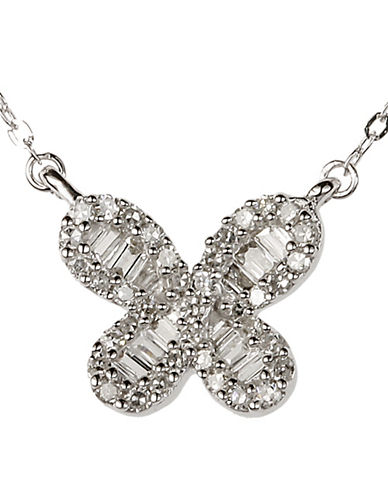Fine Jewellery 0.20 Total Carat Weight Diamond with 14K White Gold Flower Necklace-DIAMOND-One Size