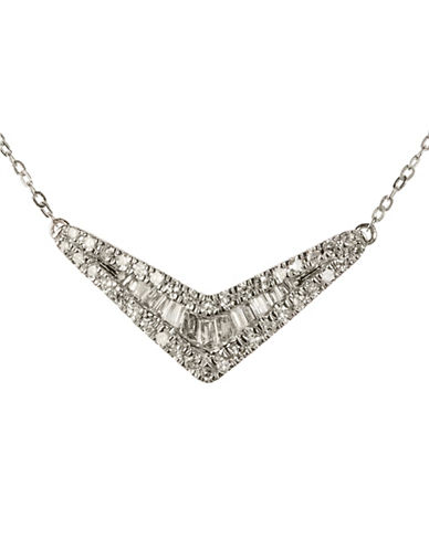 Fine Jewellery 0.25 Total Carat Weight Diamond with 14K White Gold V Necklace-DIAMOND-One Size