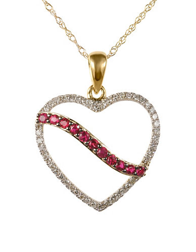 Fine Jewellery Ruby and 0.138 Total Carat Weight Diamond with 14K Yellow Gold Heart Pendant Necklace-RUBY-One Size