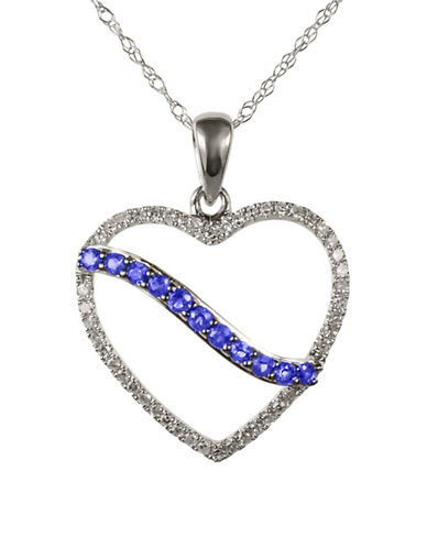 Fine Jewellery Sapphire with 0.138 Total Carat Weight Diamond and 14K White Gold Heart Pendant Necklace-SAPPHIRE-One Size