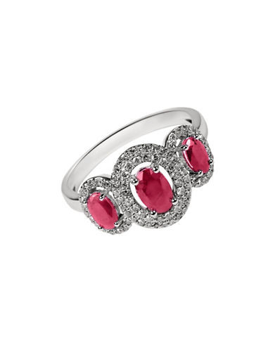 Fine Jewellery Ruby with 0.264 Total Carat Weight Diamond and 14K White Gold Ring-RUBY-7