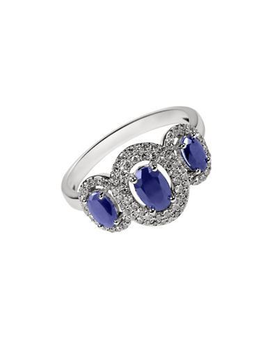 Fine Jewellery Sapphire with 0.264 Total Carat Weight Diamond and 14K White Gold Ring-SAPPHIRE-7