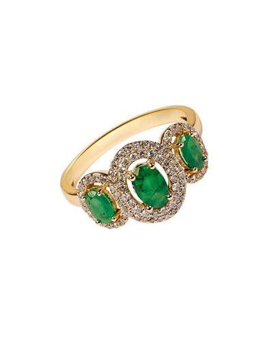 Fine Jewellery Emerald with 0.264 Total Carat Weight Diamond and 14K Yellow Gold Ring-EMERALD-7