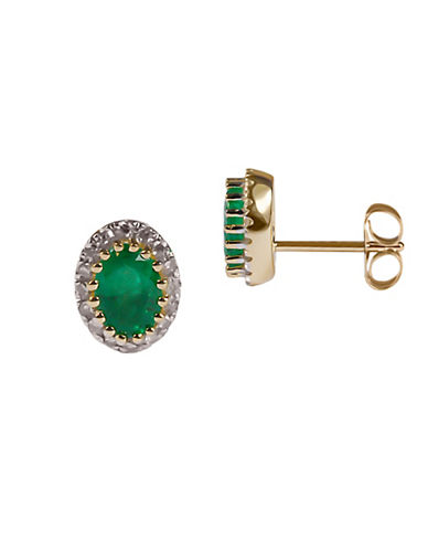 Fine Jewellery Emerald with 0.128 Total Carat Weight Diamond and 14K Yellow Gold Earrings-EMERALD-One Size