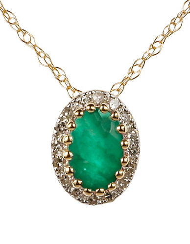Fine Jewellery Emerald with 0.064 Total Carat Weight Diamond and 14K Yellow Gold Pendant Necklace-EMERALD-One Size