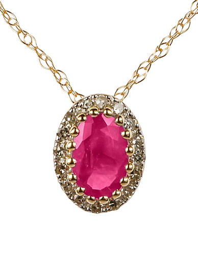 Fine Jewellery Ruby with 0.064 Total Carat Weight Diamond and 14K Yellow Gold Pendant Necklace-RUBY-One Size