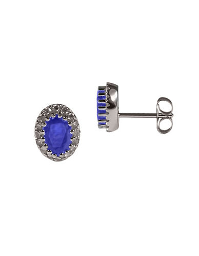 Fine Jewellery Sapphire with 0.128 Total Carat Weight Diamond and 14K White Gold Earrings-SAPPHIRE-One Size