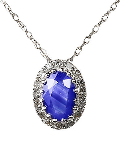 Fine Jewellery Sapphire with 0.064 Total Carat Weight Diamond and 14K White Gold Pendant Necklace-SAPPHIRE-One Size