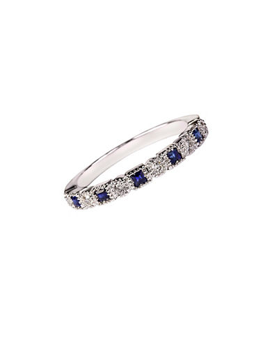 Fine Jewellery Sapphire with 0.12 Total Carat Weight Diamond and 14K White Gold Ring-SAPPHIRE-7