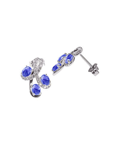 Fine Jewellery Sapphire with 0.166 Total Carat Weight Diamond and 14K White Gold Earrings-SAPPHIRE-One Size