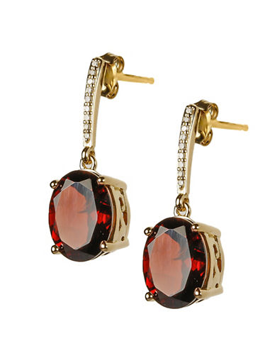 Town & Country 14K Gold Garnet Earring with 0.05 Total Carat Weight Diamonds-GARNET-One Size