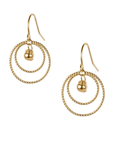 Fine Jewellery 14K Double Rope Gold Bead Drop Earrings-GOLD-One Size