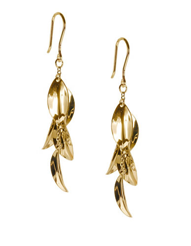 Fine Jewellery 14K Yellow Gold Multi-Leaves Dangle Earrings-GOLD-One Size