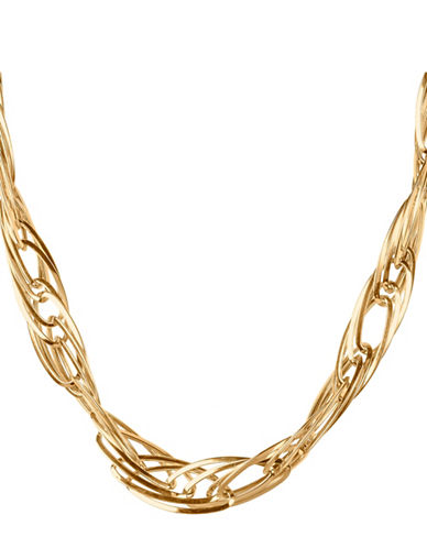 Fine Jewellery 14KT Gold Oval Twist Necklace-YELLOW GOLD-One Size