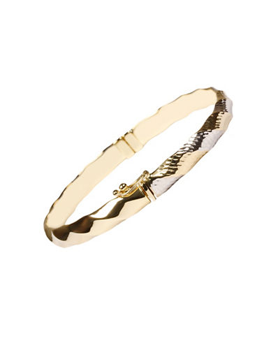 Fine Jewellery 14K Two-Tone Gold Twist Bangle-GOLD-One Size